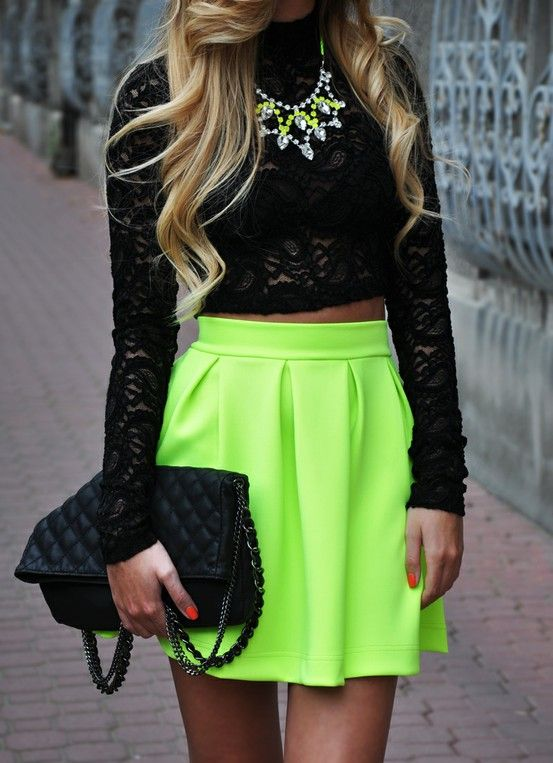 There are 17 tips to buy this skirt: neon fashion shirt tank top crop tops  black top lace top bag cut blouse neon green black lace chucky necklace  crop tops ...