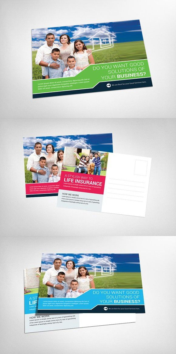 insurance postcard templates  Life Insurance Postcard Template | Creative Card Templates ...