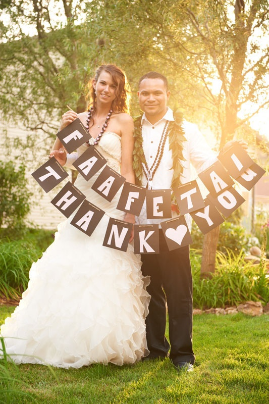 'Thank you' in English and Samoan to use as thank you cards for a multicultural wedding. :)