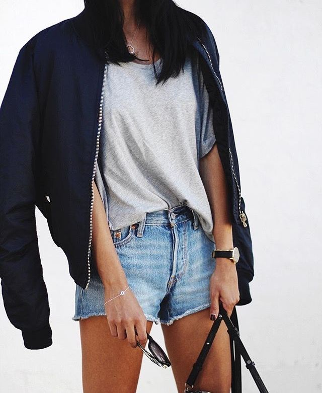 Topshop MA1 Bomber Jacket in navy