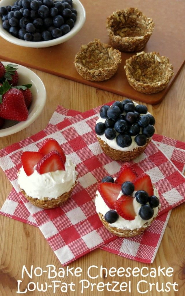 Low-fat pretzel crust shaped into cups is filled with a creamy no-bake cheesecake and topped with fresh berries. The diet friendly swap? The crust uses applesauce instead of butter.