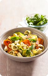 Pesto pasta with vegetable ribbons