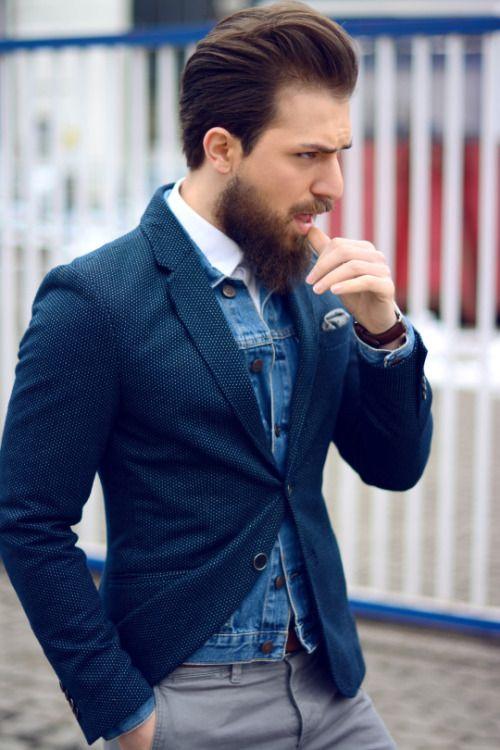 2015-02-24のファッションスナップ。着用アイテム・キーワードは30代, ジャケット, チノパン, テーラード ジャケット, ポケットチーフ, 白シャツ, Gジャン・デニムジャケット,etc. 理想の着こなし・コーディネートがきっとここに。| No:91413