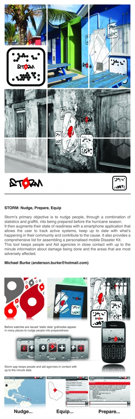 Storm's primary objective is to nudge people through a combination of statistics and graffiti into being prepared before the hurricane season.   It then augments their state of readiness with a smartphone app that allows the user to track active systems, keep up to date with what's happening in their community and contribute to the cause.