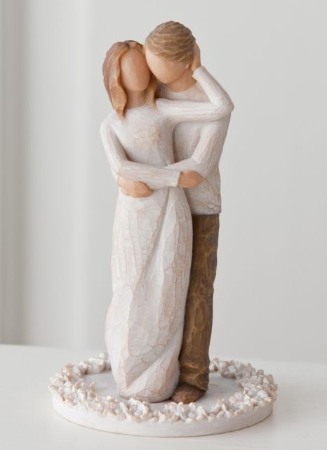 Willow Tree Together Cake Topper Message: True partners in love and life! Willow Tree Cake Toppers are a romantic and commemorative keepsake for weddings and anniversaries, or any celebratory event of enduring love. The bases of carved flowers provide stability as well as beauty. The resin and paint are cured and lead-free. All materials have been tested to ensure food safety.