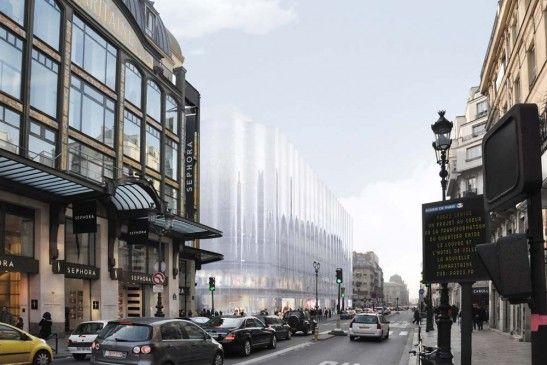SANAA - La nouvelle façade de la Samaritaine, rue de Rivoli. L'annulation, par le tribunal administratif de Paris, de l'un des permis de construire du chantier de la Samaritaine (Sanaa, architectes) inquiète l'académie d'architecture, qui l'a fait savoir par la voix de son président…