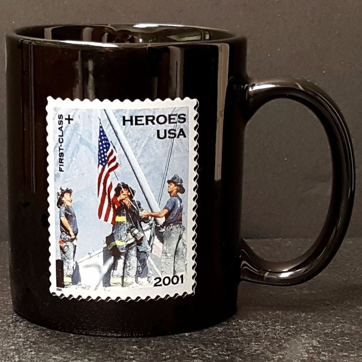 9-11 Heroes USPS Stamp 2001 Firefighter Coffee Mug Black US Flag Gift Idea Nice #USPS