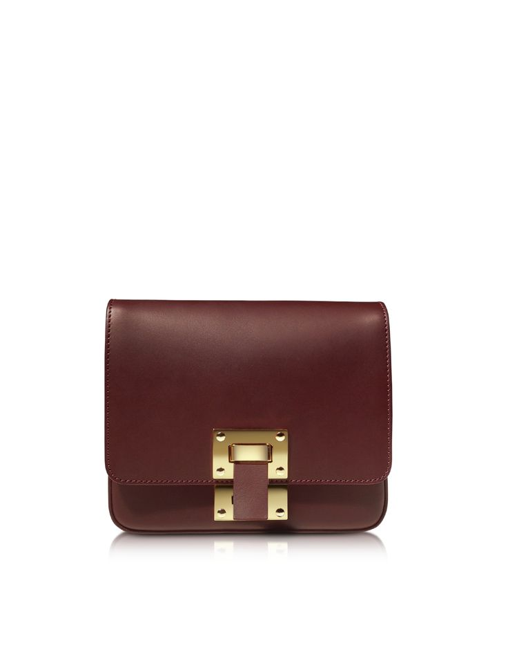 Sophie Hulme Oxblood Leather Box Flap Bag at FORZIERI