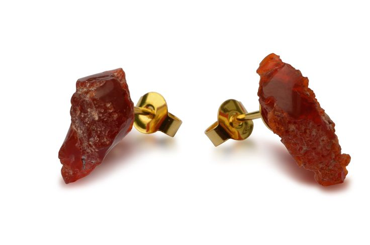 925 silver stud earrings with fire opal, gold-plated, 6.9ct
