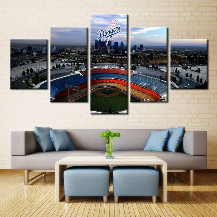 Large Framed Los Angeles Dodgers Stadium Baseball Canvas