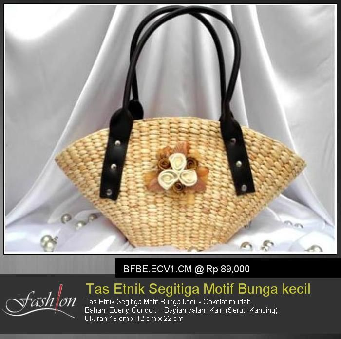 Triangle Ethnic Bag With Little Flower Theme - Light Brown
