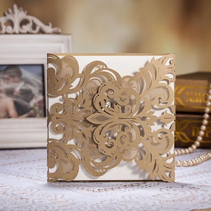 online indian wedding invitation cards free%0A    Pcs Vintage Golden Color Laser Cut Wedding Invitation Cards With  Envelopes and Seals  Ship Worldwide Days  Set of    pcs by  WishmadeCards on Etsy
