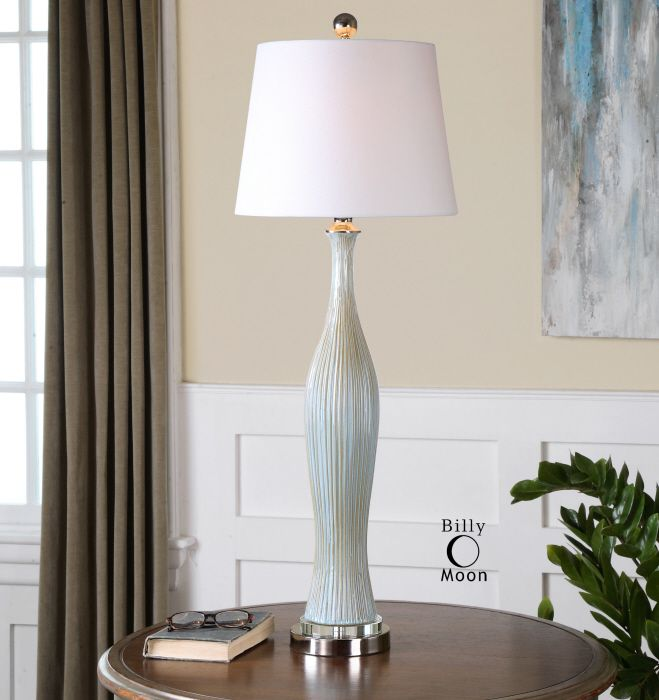 uttermost montella lamp ribbed ceramic finished in a distressed ivory blue and khaki glaze with - Uttermost Lamps