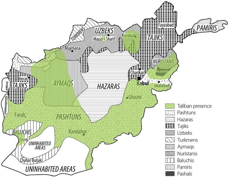 How the Taliban overlaps with ethnicity The Taliban does very broadly, but not exclusively, overlap with the Pashtuns in the south and east. That's especially important since there are so many Pashtuns just across the border in Pakistan, where the Taliban have major bases of operation. But there are rebel groups besides the Taliban, not all of which are Pashtun. Generally, though, the north of the country is stabler and less violent than the south or east.
