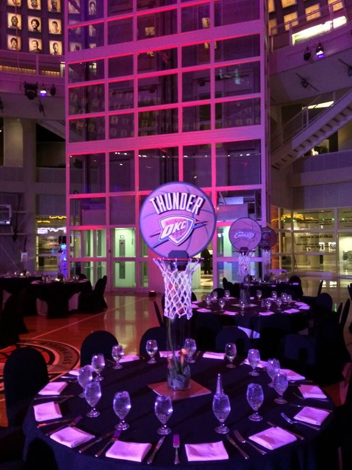 Basketball team centerpiece | Basketball Themed Bar ...