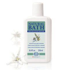 Natural Bath. Baño de espuma de flores de Heno de la montaña y Edelweiss. Extractos naturales vigorizantes. combate el cansancio por la mañanas. El poder de la naturaleza!
