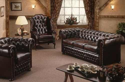 sofa chesterfield 03 lugares couro legitimo todo abotoado