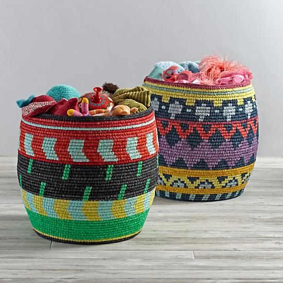 The vibrant patterns on these hand woven floor baskets provide a playful and unexpected touch of color to your home. They're ideal for holding blankets, toys and more.<br /><br /><NEWTAG/><ul><li>Nod exclusive</li><li>Large floor bins are perfect for holding blankets or toys</li><li>Choose from two colorful designs</li><li>For indoor use only</li><li>Due to the handmade nature of these baskets, dimensions vary slightly</li></ul><h2>Show 'em what you're made of</h2><li>Vetterband wrapped…