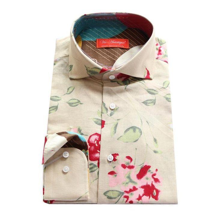 Camisa de Lino en color beige con flor roja impresa/hojas verdes Tipo Gucci