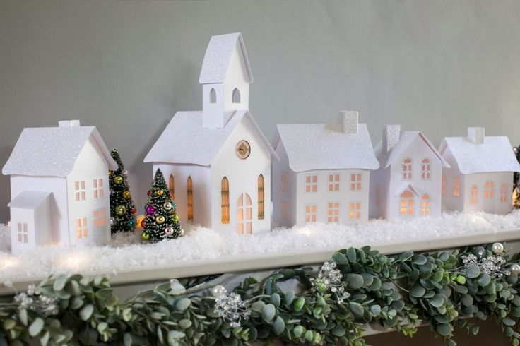 Christmas Village Pop-up Paper Village, Set of 5 with 5 Battery Tea Lights by DimensionalPaperwork on Etsy https://www.etsy.com/listing/476906862/christmas-village-pop-up-paper-village