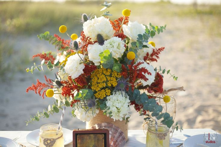 Nautical inspired floral centerpiece in late summer tones