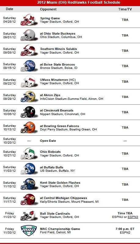 Miami Redhawks 2012 Football Schedule Miami University