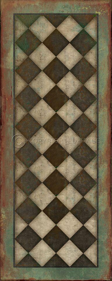 Pura Vida Home Decor - Pattern 9 Checkmate vinyl floor cloth, $49.00 (http://stores.puravidahomedecor.com/pattern-9-checkmate-vinyl-floor-cloth/)