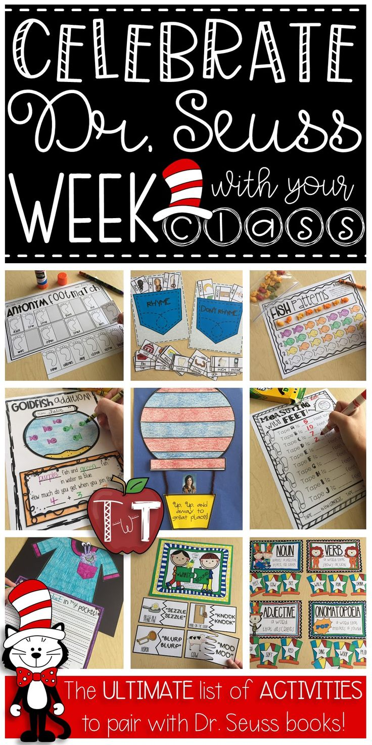 Activities that go with Dr. Seuss books!  Great ideas for Read Across America week!