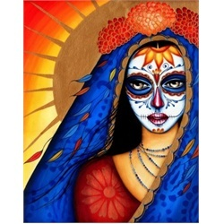 Soul Searching Mexican Death Mask by Cat Ashworth Tattoo Art Print. Cat Ashworth gives this seniorita a contemporary edge by using bright and rich colors. His new school tattoo art approach gives a fresh face to the Mexican death mask tattoo.
