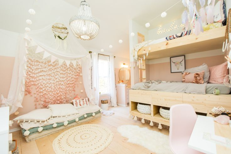 Boho Girls Room with custom built-in bunkbeds and comfy floor cushions. #boho #girlsroom #urbanologydesigns