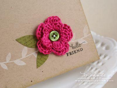 Crochet Flowers for Cardmaking - http://nicholeheady.typepad.com/capture_the_moment/2009/05/embellish-it-senior-challenge.html