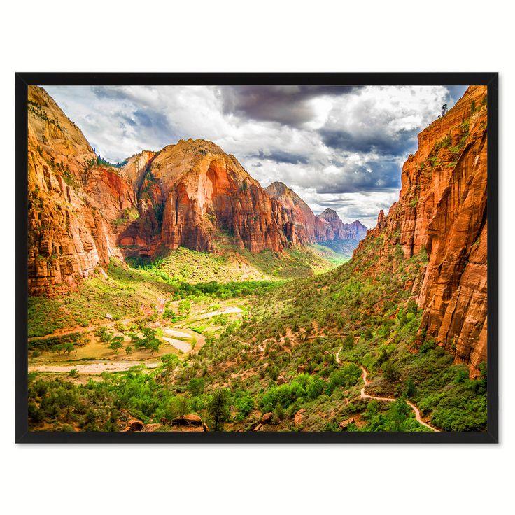 Zion National Park Landscape Photo Canvas Print Pictures Frames Home Décor Wall Art Gifts