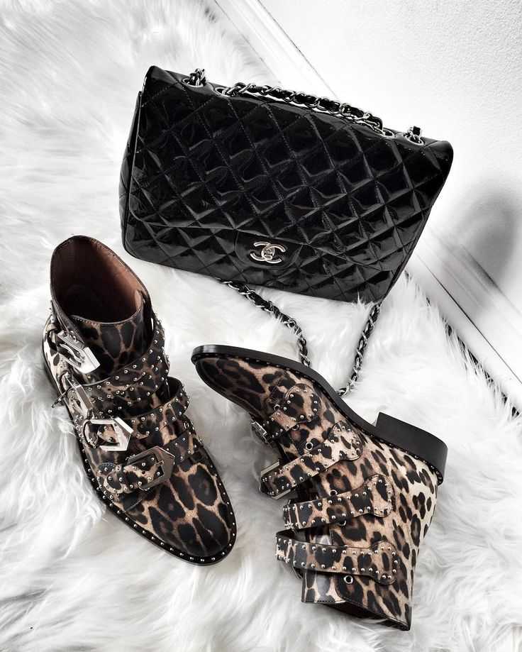 Givenchy leopard print studded ankle boots + patent leather Chanel jumbo