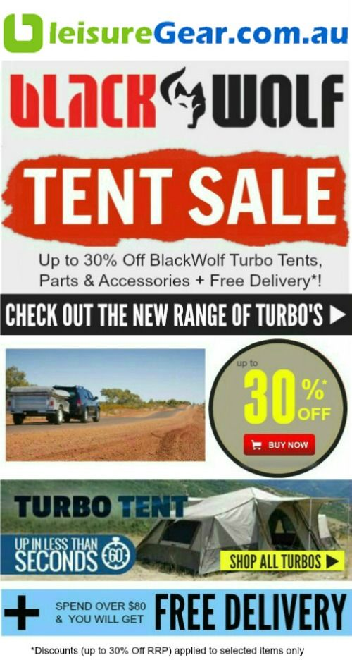 OCTOBER SALE: Up to 30% Off BlackWolf Turbo Tents, Parts & Accessories + Free Delivery. Buy now http://www.leisuregear.com.au/blackwolf-turbo/