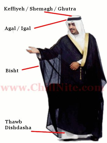 Kuwait dress for man -- this guy's dressed up 'cause he's wearing the Bisht