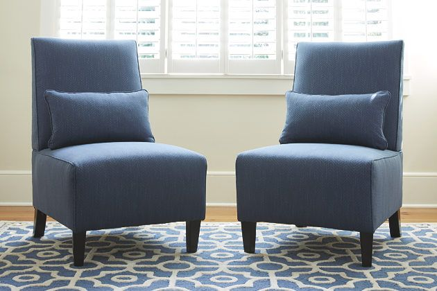 Armless accent chairs in sophisticated indigo blue