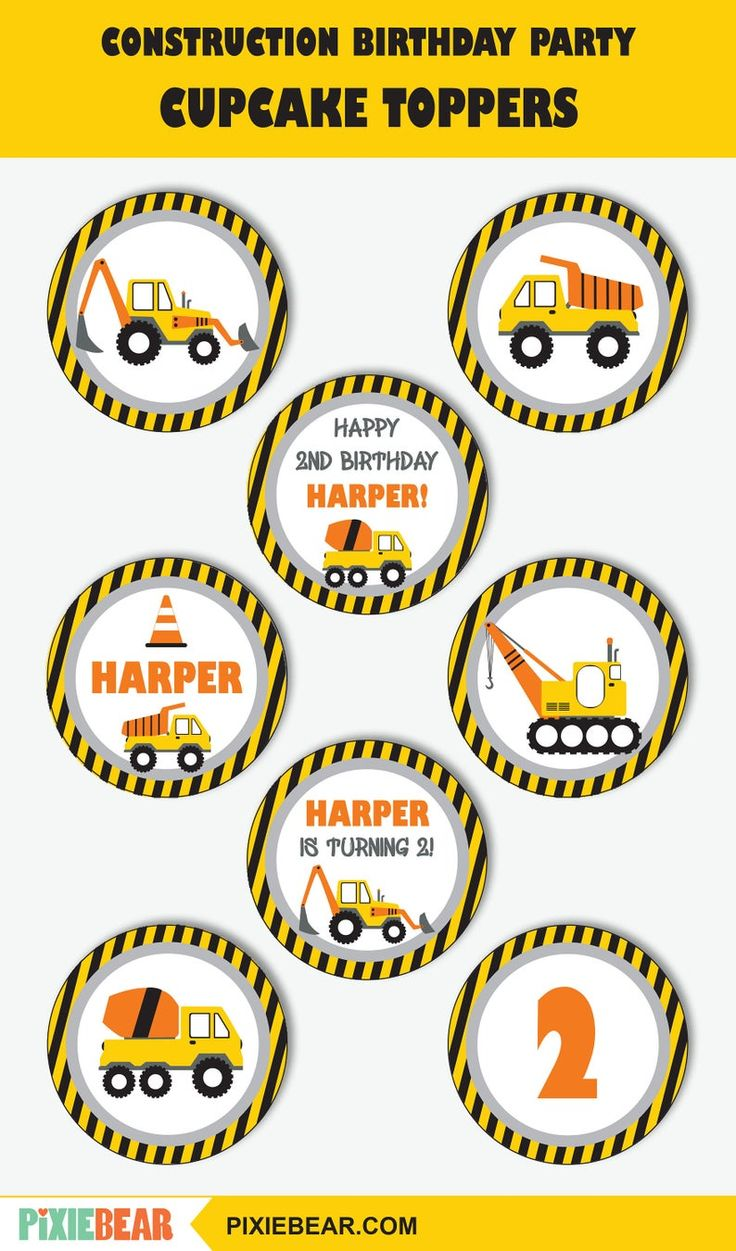 Construction Cupcake Toppers Printable Construction Toppers And Wrappers Construction First Birthday Decorations Instant Download Construction Cupcakes Cupcake Toppers Printable Construction Birthday Parties