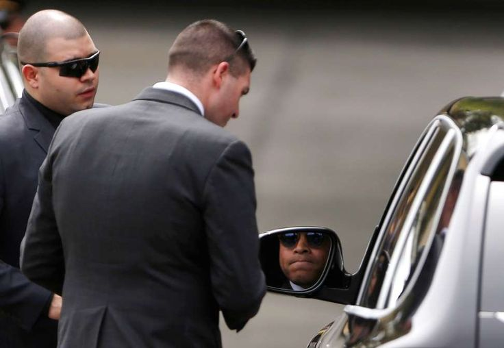 Aaron Hernandez's funeral  -  April 24, 2017:      Attorney Jose Baez is stopped by security as he arrives at O'Brien Funeral Home for Aaron Hernandez's funeral in Bristol, CT on Apr. 24, 2017. Family and high-profile friends of Hernandez, the convicted killer and former New England Patriots star who hanged himself in his prison cell last week, paid their final respects during a private funeral service in his hometown