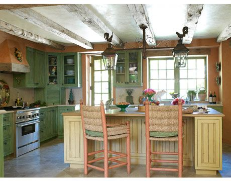 French country kicthen: Cabinets, Lights Fixtures, Expo Beams, Color, French Country Style, Country Kitchens Design, House, French Country Kitchens, French Kitchens