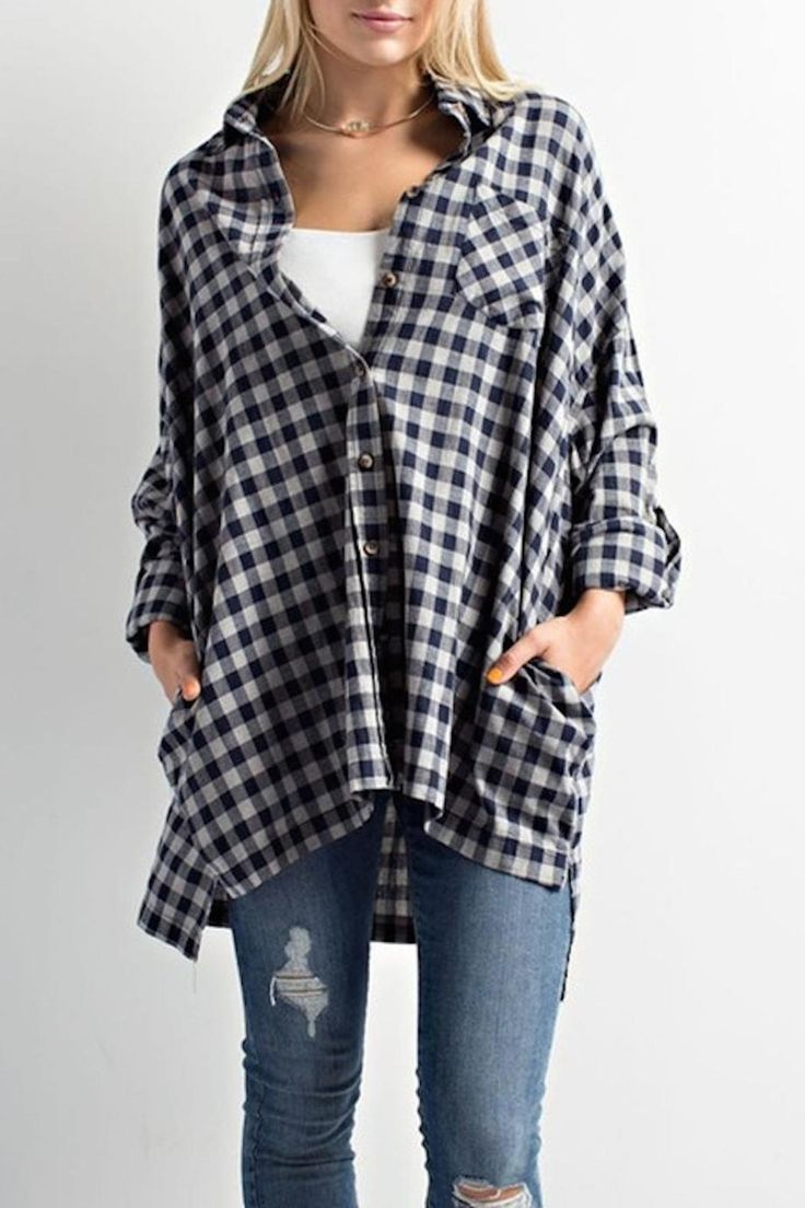 Oversized plaid tunic with pockets.   Fit is oversized. Model is shown in S/M. Pair this with everything from leggings and booties to shorts and sandals. Oversized Plaid Tunic by Wishlist. Clothing - Tops - Casual Alabama
