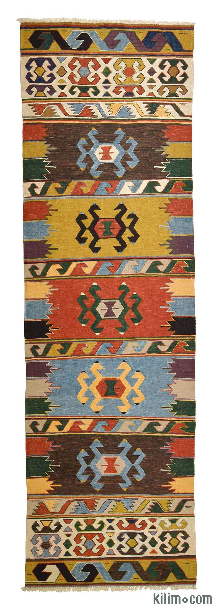 New Turkish Kilim Runner Rug hand-woven in Konya, Turkey with vegetable-dyed and hand-spun wool. The fringes can be removed upon request. If you like the design of this rug, we can custom make it to meet your color and size requirements.
