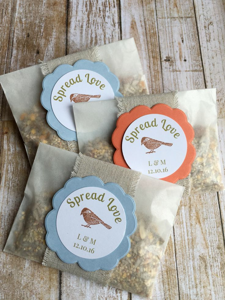 "8 ~ Bird Seed Favors, Wedding Bird Seed Favors, Bird Seed Send Off Favors, ""Spread Love"" Wedding Favors, Glassine Bags by KraftandPoppy on Etsy https://www.etsy.com/listing/466229546/8-bird-seed-favors-wedding-bird-seed"