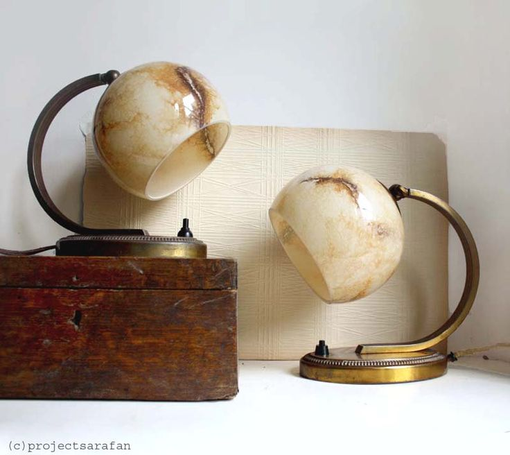 Pair of Antique Vintage Art Deco / Bauhaus Style Lamps. Cream Brown Marbled Glass Globe Shades with Metal Bases. €215.00, via Etsy.