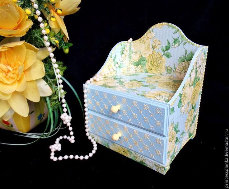 """Купить """"Розы на голубом"""" Мини-комод для украшений, рукоделия - голубой, желтый, мини-комод"""