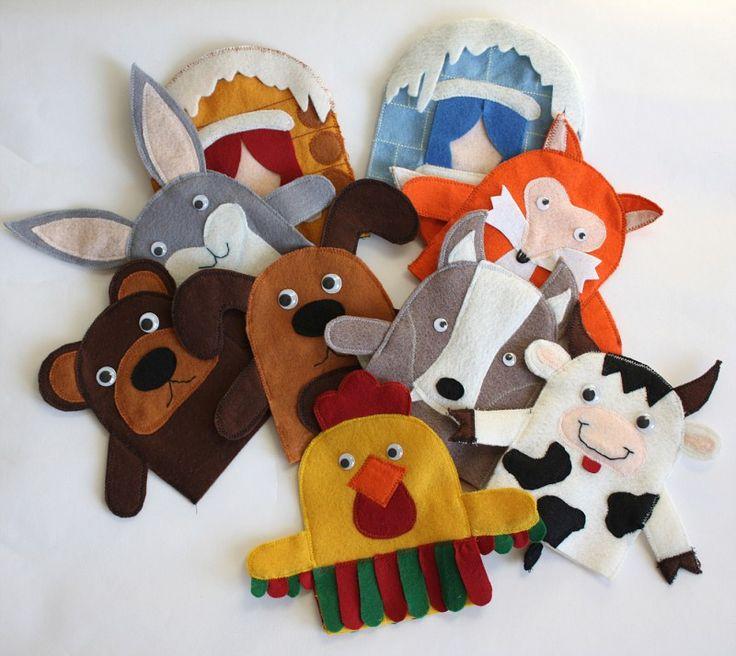 "Игрушки на руку для сказки ""Лиса и заяц"""