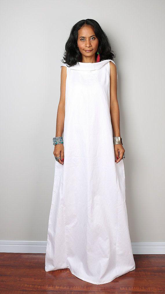 Linen Maxi Dress / Sleeveless White Dress with hood : от Nuichan