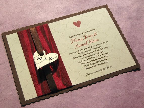 Items similar to Country Rustic Heart Wedding Invitation - Heart ...