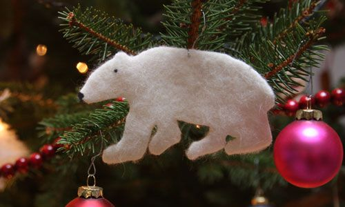 polar bear from a felted sweater