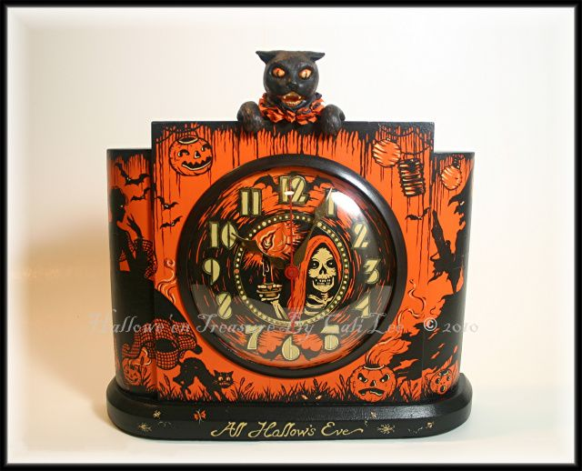 all hallows eve another black cat clock with all the bells and whistles of halloween halloween treasure studio 2011 artwork by cali lee