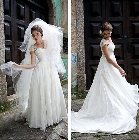 2016 New Arrival Charming Vestidos De Noiva A Line Organza Beading Cap Sleeve Wedding Dresses Bridal Gown With Belt & Bow